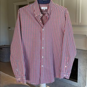Men's blue and red plaid button down